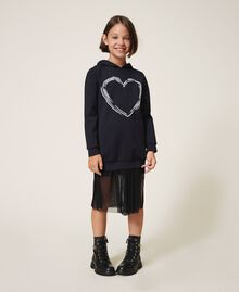 Scuba maxi sweatshirt with heart Black Child 202GJ2701-01