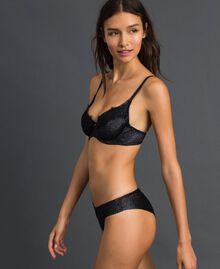 Brazilian-Slip aus Lurex mit Spitzenintarsien Silberlurex-Schwarz Frau 192LL6B77-01