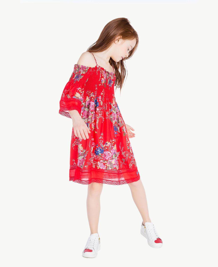 Robe fleurs Imprimé Fleurs / Rouge Grenadier Enfant GS82E1-02