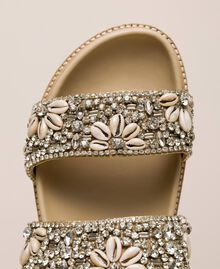 Leather sliders with embroidery Nougat Beige Woman 201TCT022-04