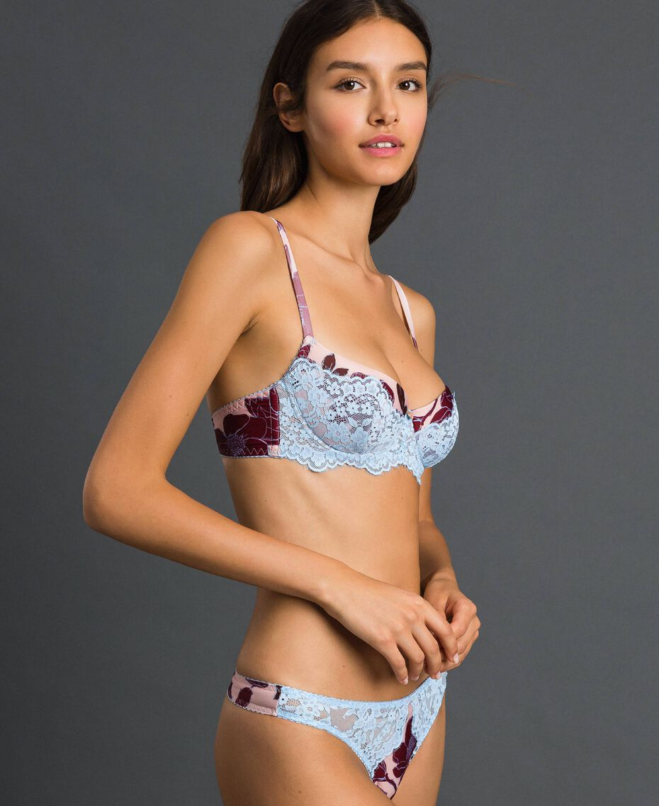 "Lace balconette bra with print ""Peach"" Pink Floral Print Woman 192LL6K33-02"