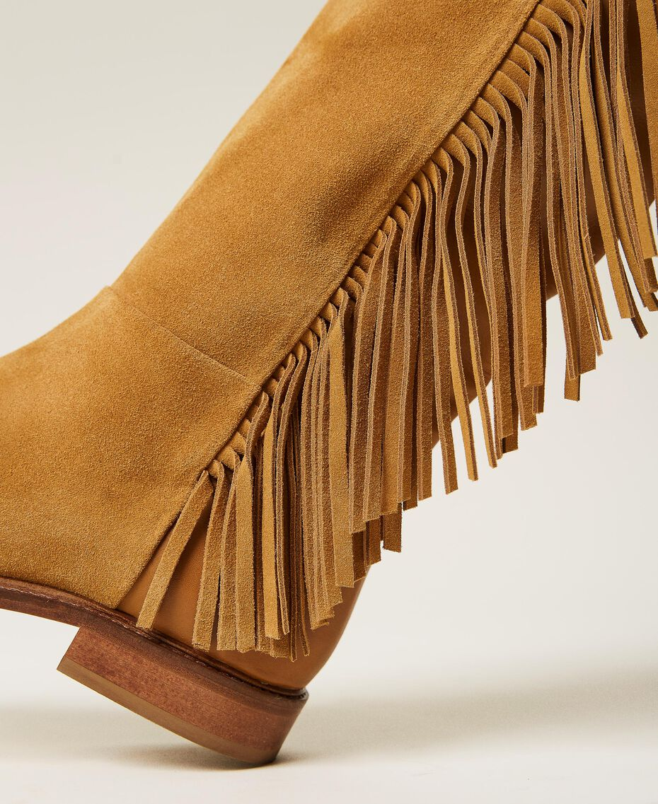 """Leather boots with fringes """"Cigar"""" Beige Woman 212TCP106-02"""