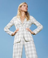Chequered wool blend blazer