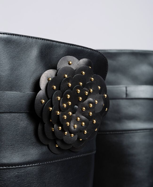 Overkneestiefel aus Leder mit Blume Schwarz Frau CA8PNC-04