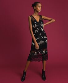 Plumetis tulle dress with floral embroidery Black Woman 192TT2042-01