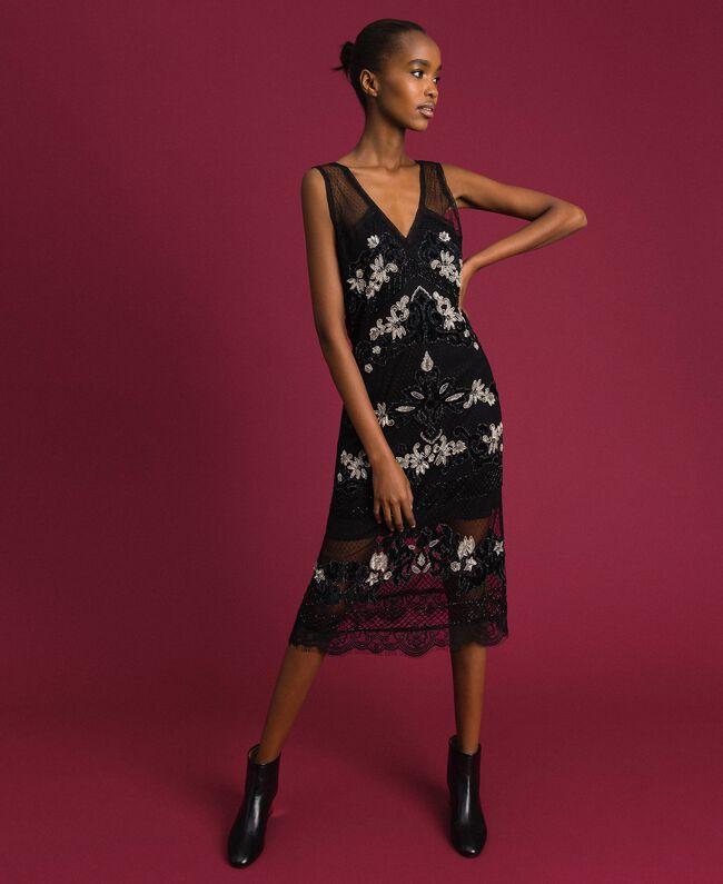 Платье из расшитого тюля плюмети с цветочными вышивками Черный женщина 192TT2042-01