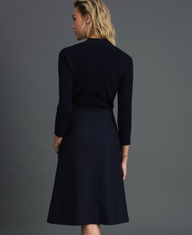 Ribbed knit and technical wool knit dress Midnight Blue Woman 192TT3282-03