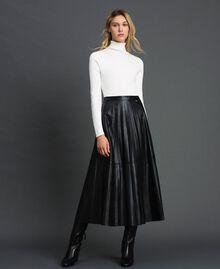 Jupe mi-longue en similicuir plissé Noir Femme 192ST2015-0T