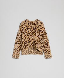 Animal print jacquard jumper with lurex Leopard Print Jacquard Woman 192TT3261-0S