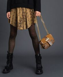 Small Rebel shoulder bag in suede and leather Brandy Python Print Woman 192TO8240-0S