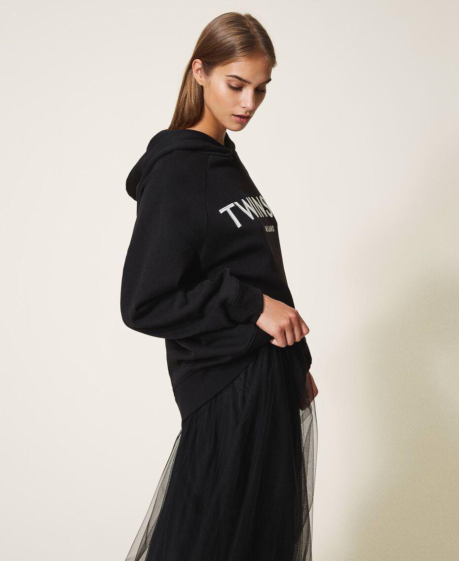 Hoodie with logo embroidery Black Woman 202TT2480-02