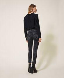 Animal print push-up jeans with studs Black Denim Woman 202MP2221-03