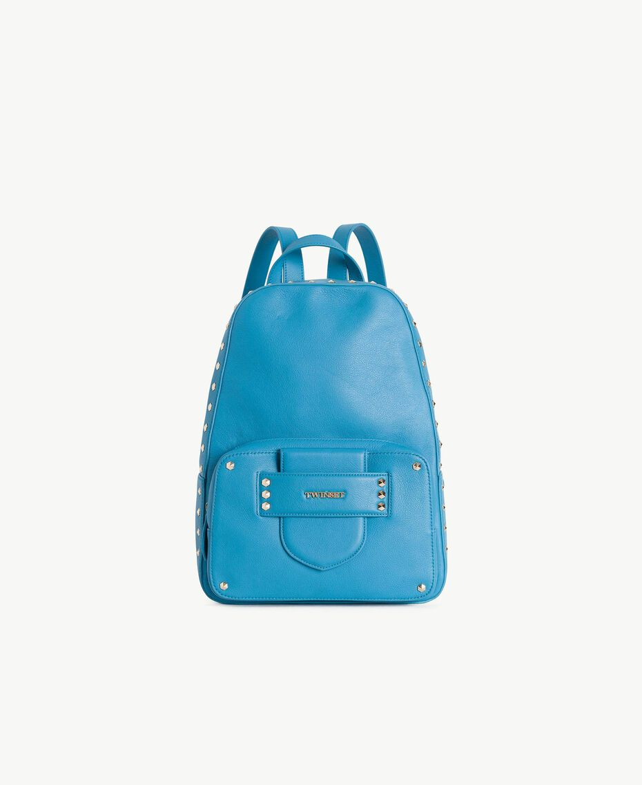 """TWINSET Studded backpack """"Gentian"""" Blue Woman OS8TBA-01"""