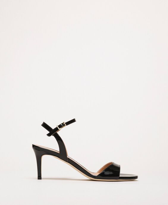 High heel leather sandals
