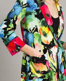 Marocain-Jacke mit Blumenmuster Motiv Schwarzer Garten Frau 191TT2470-05