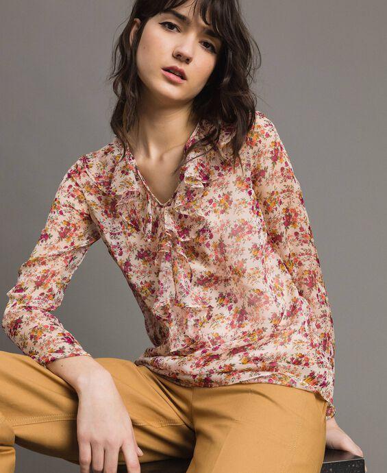 Georgette-Bluse mit Blumenmuster
