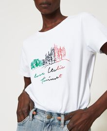 T-shirt with Love Italia embroidery White Woman 211TT2500-04