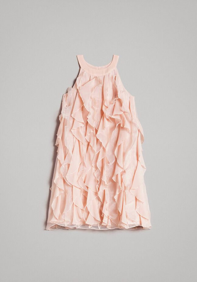 Georgette and organza ruched dress