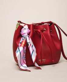 Faux leather bucket bag with scarf Venetian Red Woman 201MA7082-01