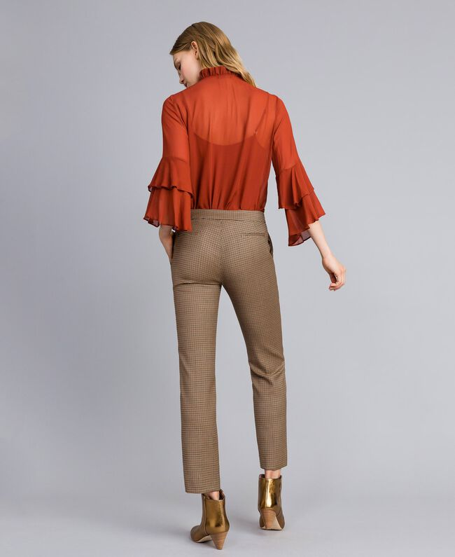 "Wool blend drainpipe trousers ""Burnt"" Orange Small Check Jacquard Woman TA821P-03"
