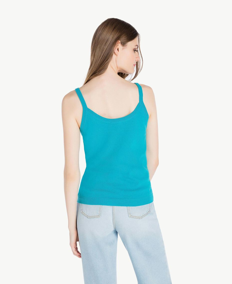 Cashmere tank top Turquoise Woman PS83EK-03