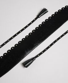 Faux leather wide belt with scalloped edge and studs Black Woman 192MO5342-02