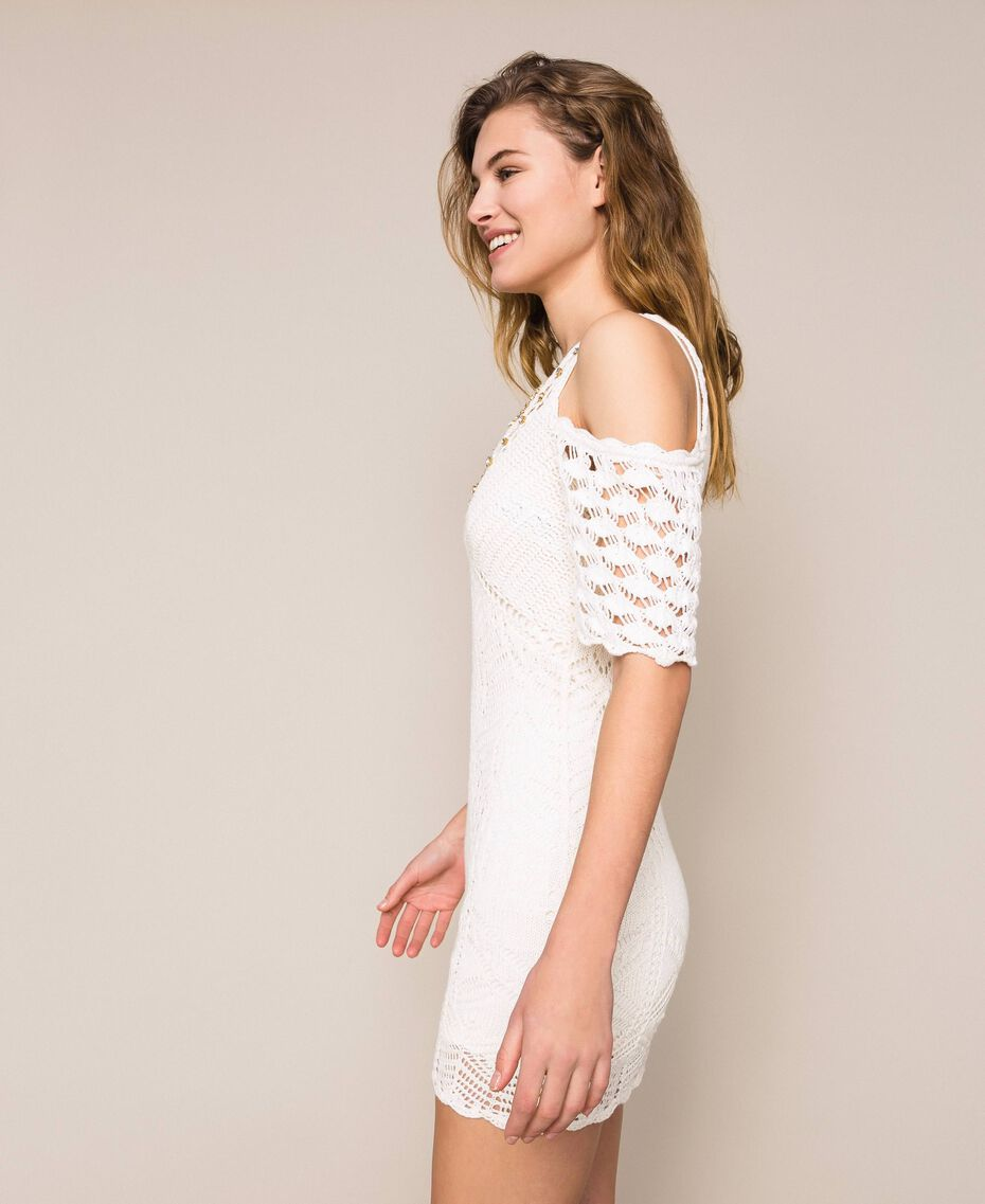 Embroidered crochet sheath dress with fringes White Snow Woman 201TT3151-02