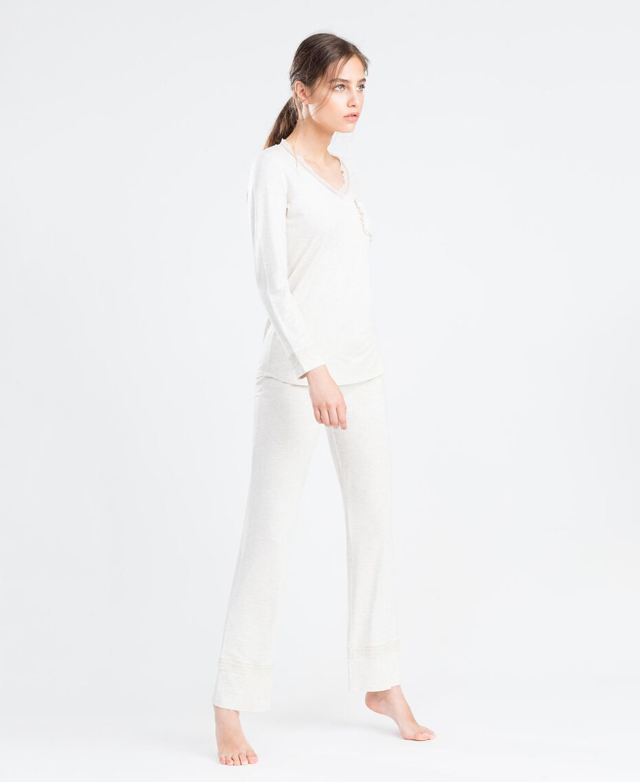 Langer Pyjama aus Viskosejersey mit Stretchanteil Elfenbeinmelange Frau LA8BGG-02