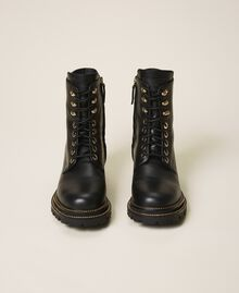 Tie-up leather combat boots Black Woman 202TCP182-05