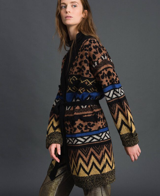 Cardigan en laine et mohair avec motifs jacquard Jacquard Mélange Géométrique Animalier Femme 192ST3191-04