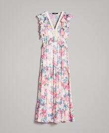 Robe en georgette à volants et froufrous Imprimé Fleur Tissu Blanc Femme 191MP2330-0S