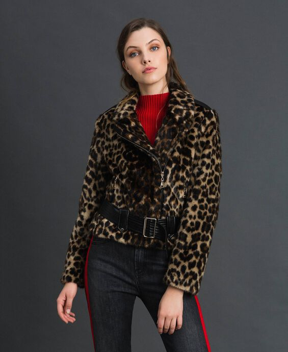 Faux fur animal print biker jacket