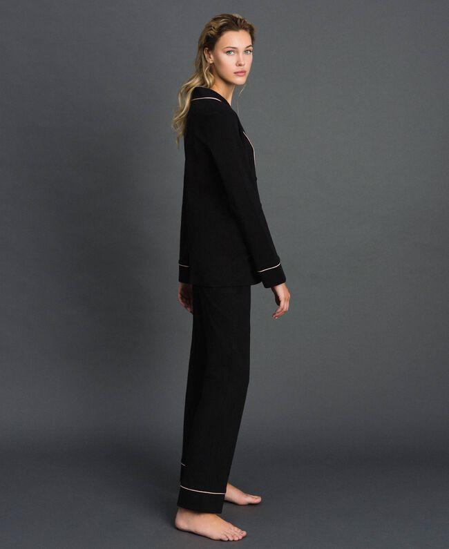 Pyjama long avec bords contrastés Noir Femme 192LL2DMM-03