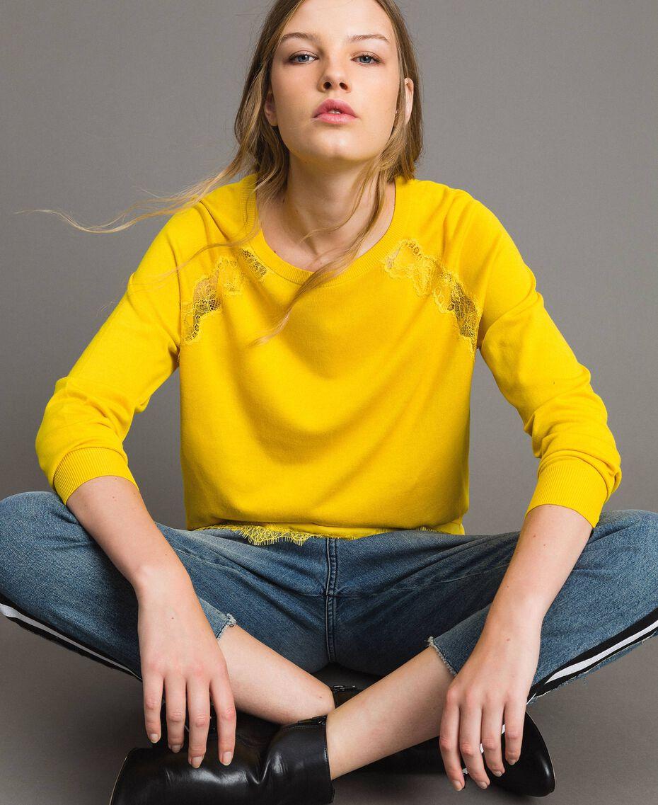 """Pullover mit Spitze und passendem Top """"Freesia"""" Gelb Frau 191MP3211-02"""