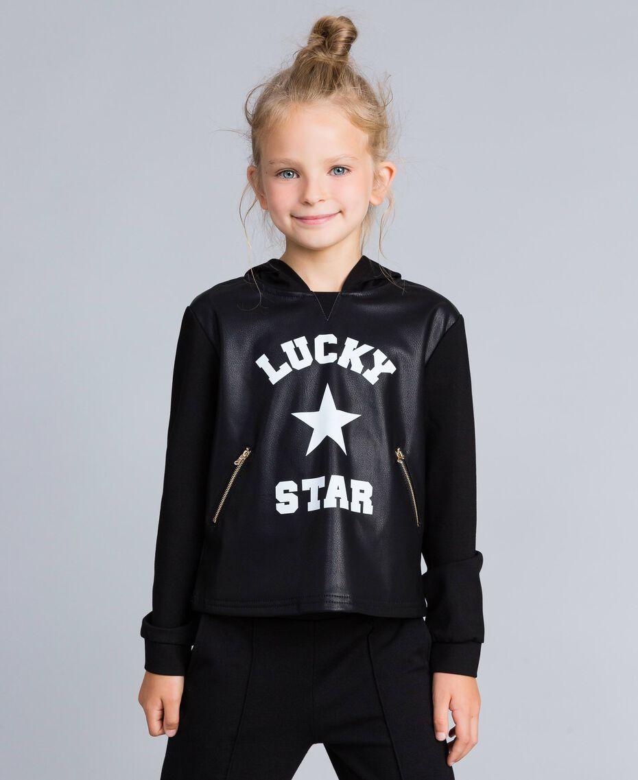 Sweatshirt aus Lederimitat und Interlock-Jersey Schwarz Kind GA82LV-02