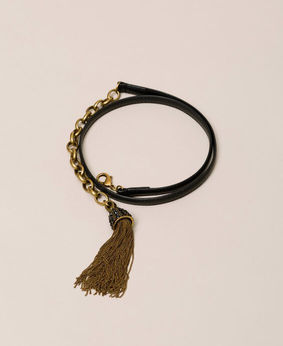 Leather belt with chain and tassels