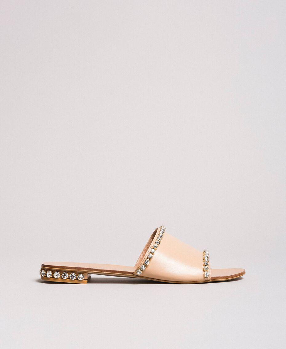"Sandales en cuir ornées de strass Beige ""Nude"" Femme 191TCT094-02"