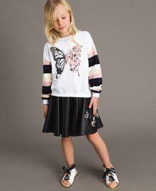 Geknüpfter gestreifter Baumwoll-Pullover Streifen Optisch Weiß / Multicolour Kind 191GJ2451-02
