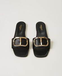 Sandalias slide de piel con logotipo Negro Mujer 211TCT014-05
