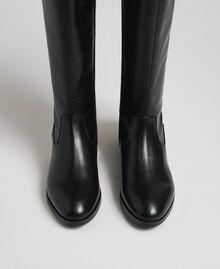 Bottes avec logo et talon décoratif Noir Femme 192MCP022-04