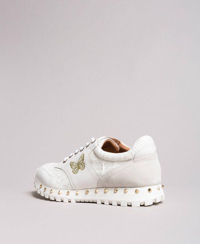 Sneakers aus Spitze und Wildleder Weiß Frau 191TCP026-04