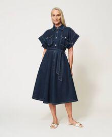 "'Antares"" denim shirt dress Dark Denim Woman 211MT211C-05"