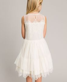Embroidered tulle and lace dress Pale Cream Child 191GJ2QC0-04