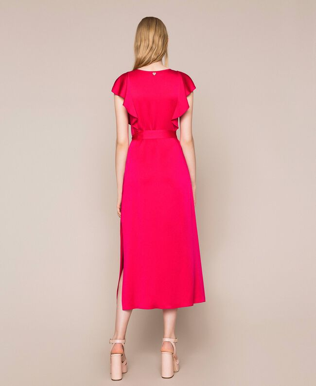 Long dress with frilled sleeves Black Cherry Woman 201TP2284-04