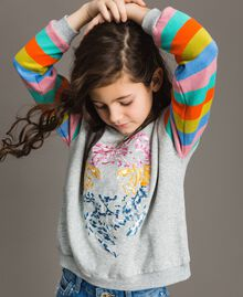 Cotton knitted striped sweatshirt Melange Grey / Multicolour Striping Child 191GJ2451-04