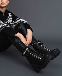 Leather combat boots with heel and pearls Black Woman 192TCP01C-0S