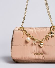 Nylon shoulder bag with chain and charms Camel Woman AA8PFC-01