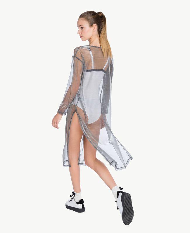 Kleid mit Beschichtung Lamé-Grau IA79BB-04