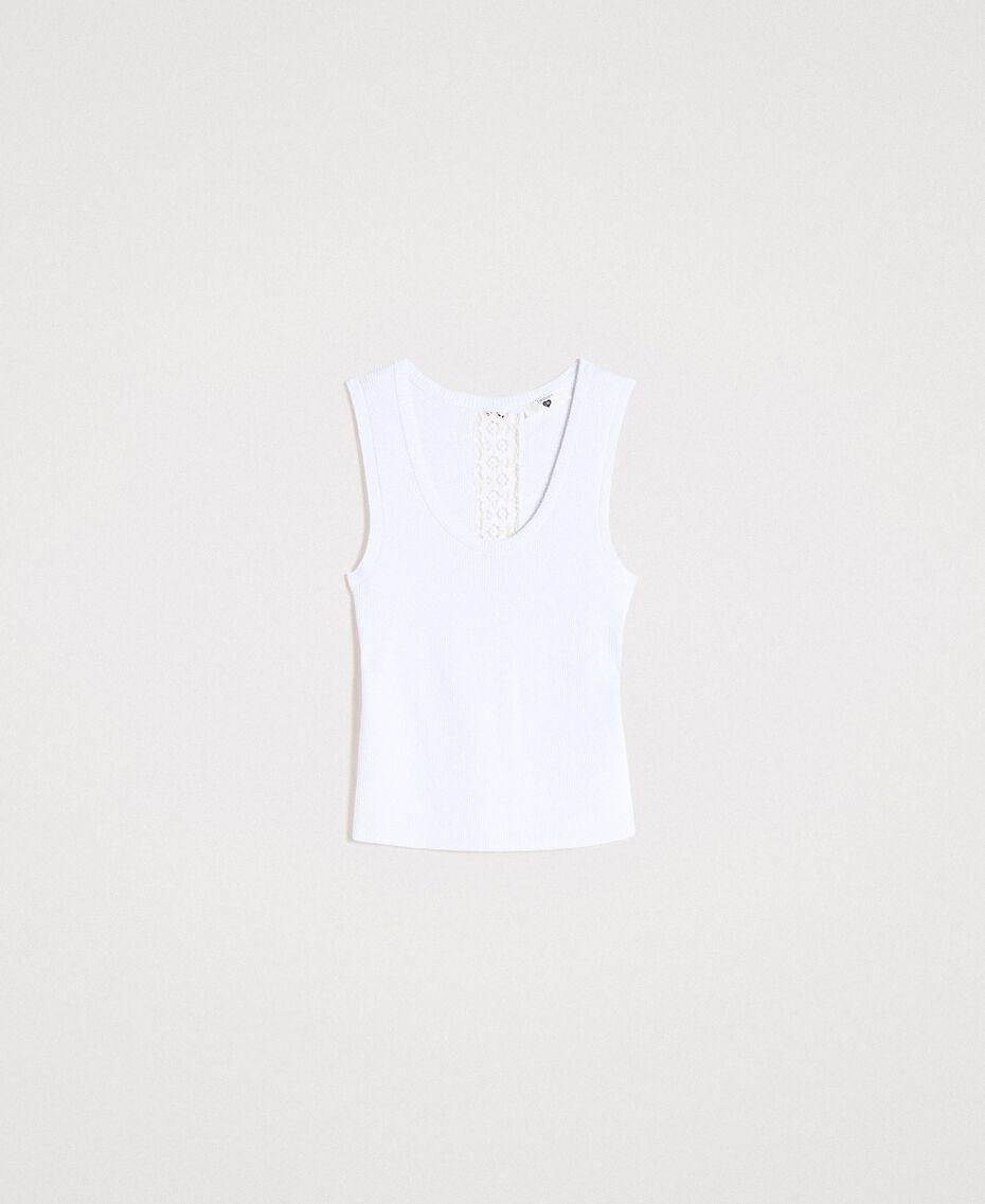 """Top en maille côtelée Bicolore Blanc Optique / Jaune """"Jus de Citron"""" Femme 191LL36EE-0S"""