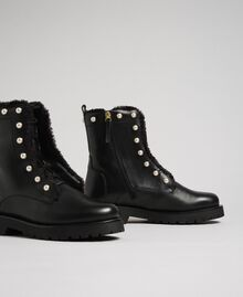 Leather combat boots with pearls Black / White Pearl Woman 192TCP034-01